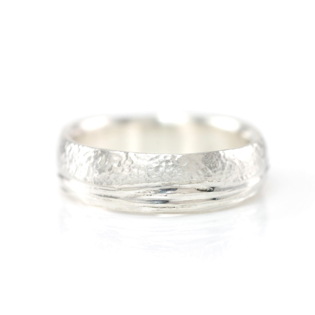 Sea and Sand Wedding Rings in Palladium Sterling Silver - size 8 - Ready to Ship - Beth Cyr Handmade Jewelry