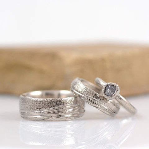 Custom order Final Payment - sea and sand in palladium/silver - w/ rough diamond ring - Beth Cyr Handmade Jewelry