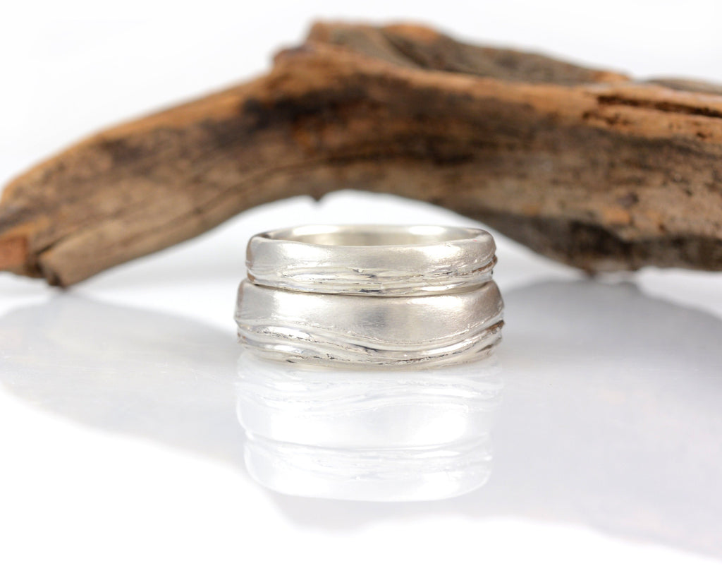Sea and Sky Wedding Rings in Palladium Sterling Silver - Made to order - Beth Cyr Handmade Jewelry