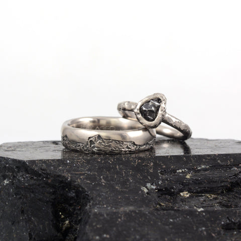 Custom order for Sean - mountain rings in palladium/silver