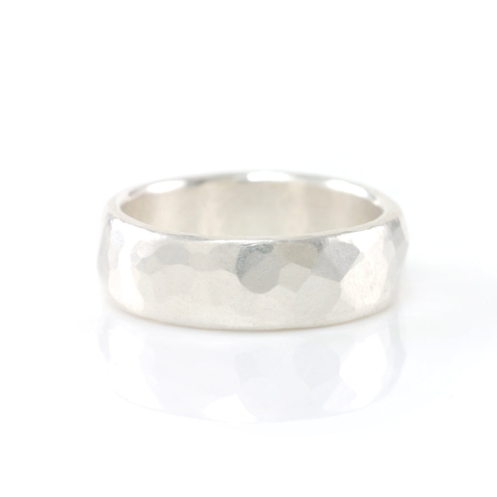 Simple Hammered Wedding Rings in Palladium Sterling Silver - Made to Order - Beth Cyr Handmade Jewelry