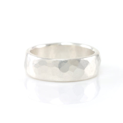 Simple Hammered Ring in Palladium Sterling Silver - Size 8 1/4 - Ready to Ship - Beth Cyr Handmade Jewelry