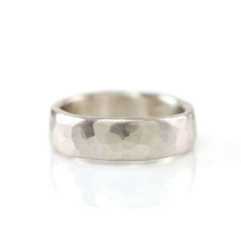 Simple Hammered Ring in Palladium Silver Alloy - Size 7 1/2 - Ready to Ship - Beth Cyr Handmade Jewelry