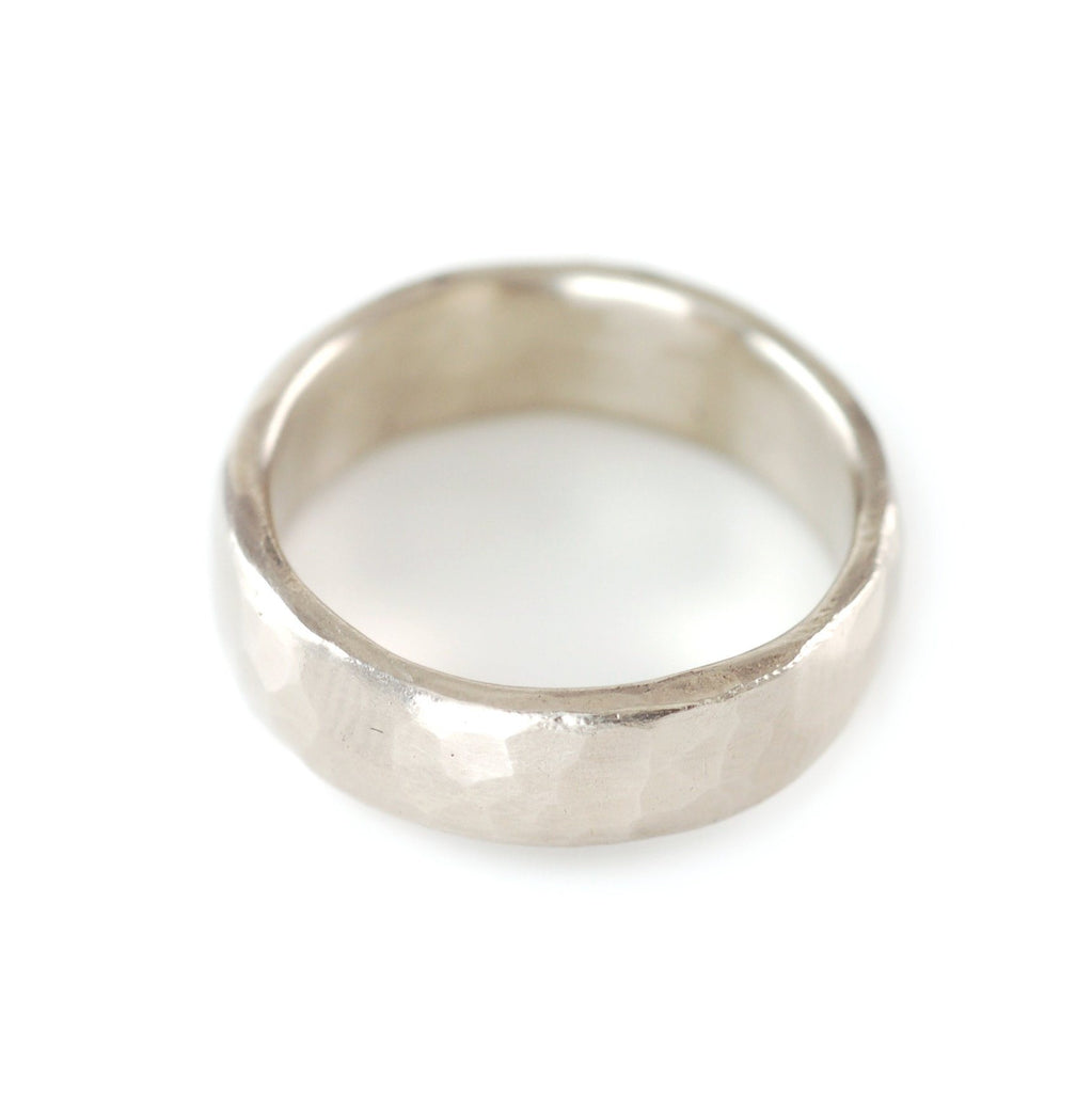 Simple Hammered Ring in Palladium Silver Alloy - Size 7 1/2 - Ready to Ship