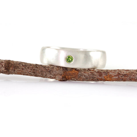 Simplicity Ring with Green Diamond in Palladium Sterling Silver - size 7 - Ready to Ship - Beth Cyr Handmade Jewelry