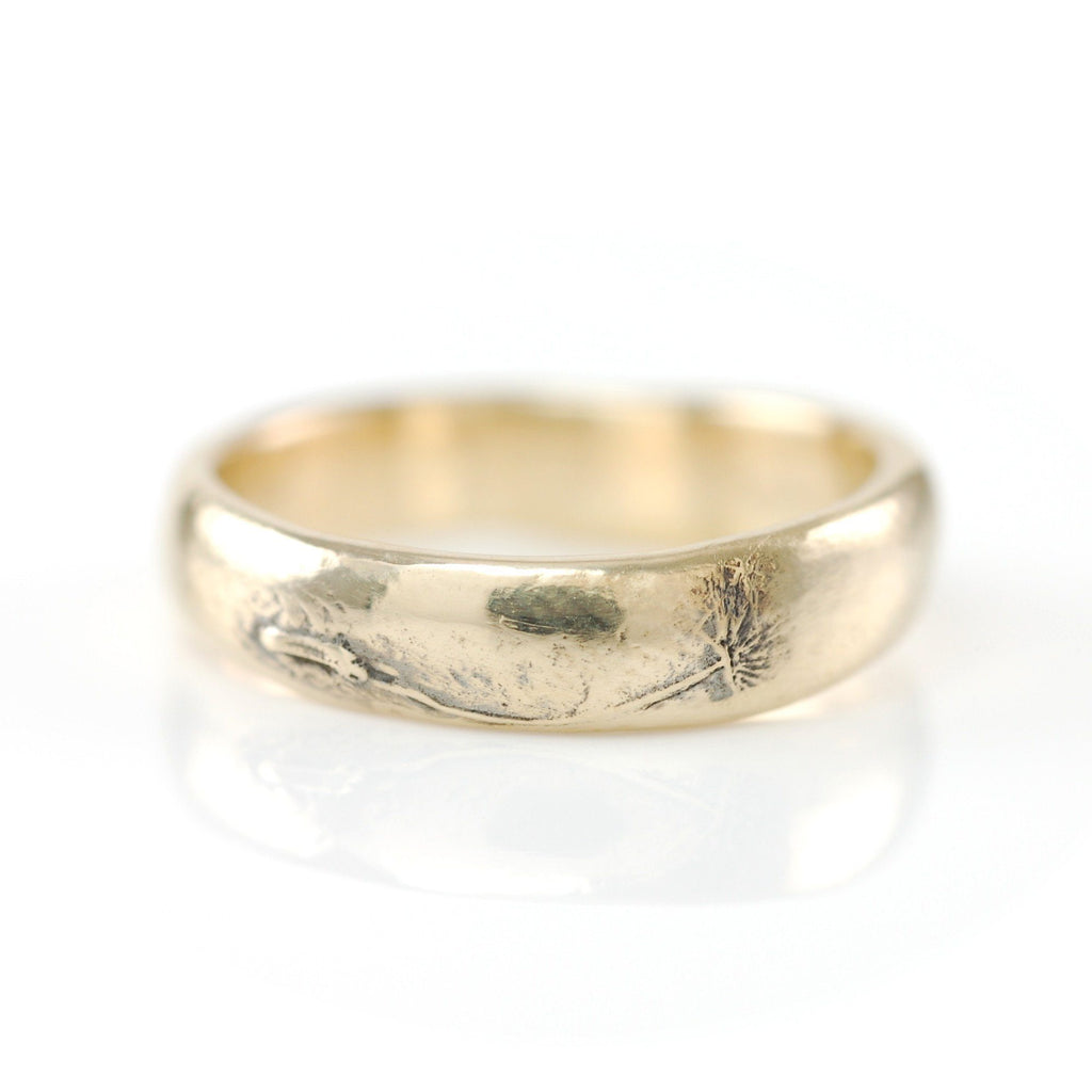 Simplicity Ring with Dandelion Fluff in 14k Yellow Gold - Size 5  -  Ready to Ship - Beth Cyr Handmade Jewelry
