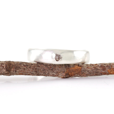 Simplicity Ring with Gray Rough Diamond in Palladium Sterling Silver - size 4 3/4 - Ready to Ship - Beth Cyr Handmade Jewelry