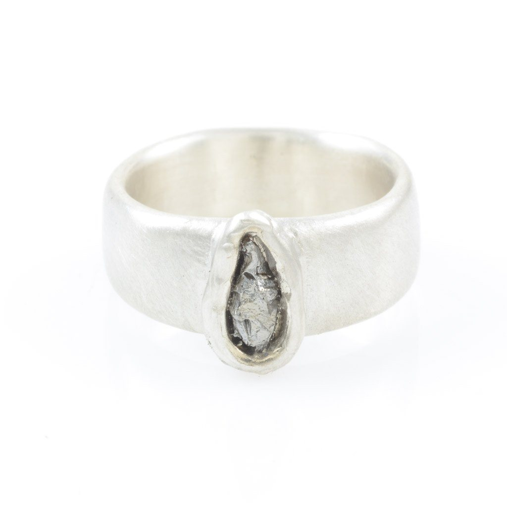 Simplicity Wide Band and Single Meteorite Ring in Palladium Sterling Silver - size 4 1/2 - Ready to Ship - Beth Cyr Handmade Jewelry