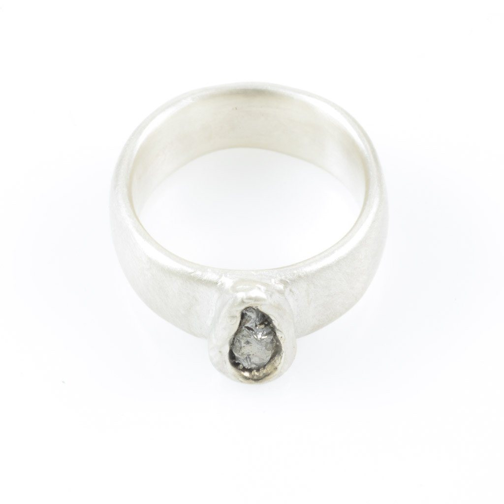 Simplicity Wide Band and Single Meteorite Ring in Palladium Sterling Silver - size 4 1/2 - Ready to Ship