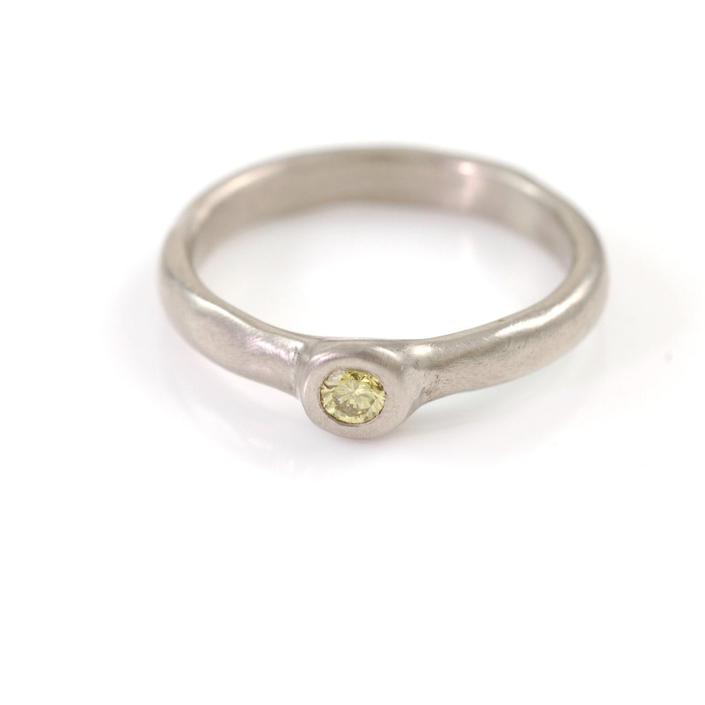 Simplicity Engagement Ring with Yellow Diamond in Palladium/Silver - size 7 - Ready to Ship - Beth Cyr Handmade Jewelry