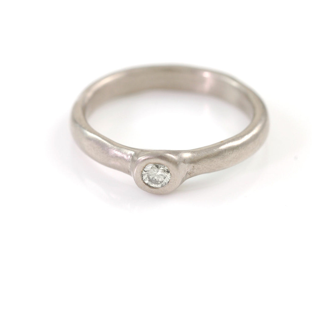 Simplicity Engagement Ring with Moissanite or White Sapphire in Palladium/Silver - Made to Order - Beth Cyr Handmade Jewelry