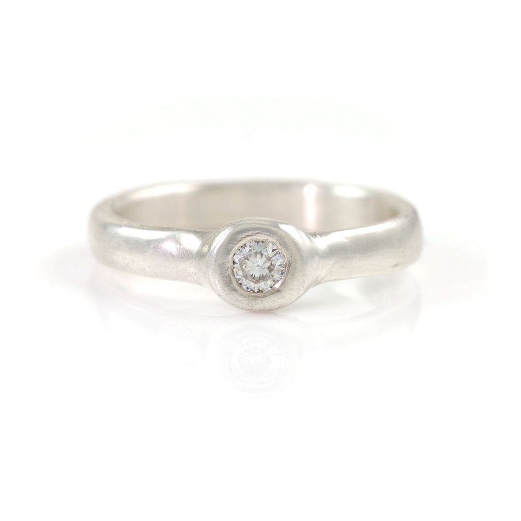 Simplicity Engagement Ring with Moissanite in Palladium Sterling Silver - Made to Order - Beth Cyr Handmade Jewelry