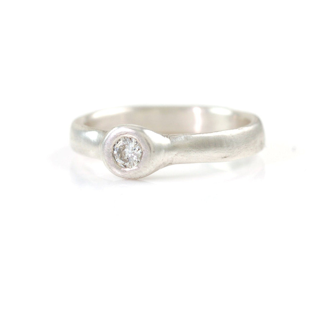 Simplicity Engagement Ring with Moissanite in Palladium Sterling Silver - size 5.5 - Ready to Ship - Beth Cyr Handmade Jewelry