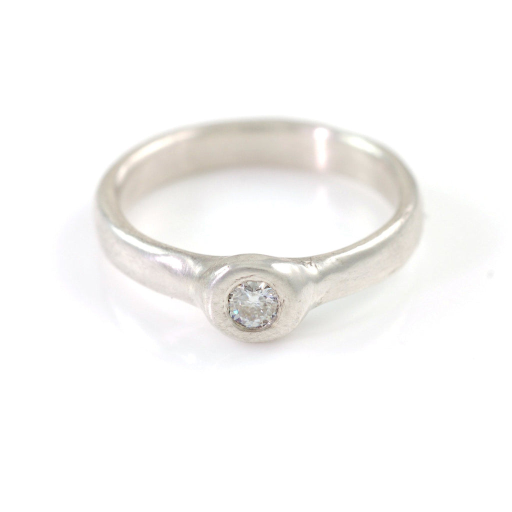 Simplicity Engagement Ring with Moissanite in Palladium Sterling Silver - size 5.5 - Ready to Ship