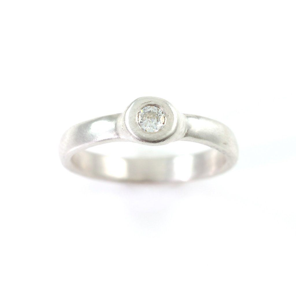 Simplicity Engagement Ring with Moissanite or White Sapphire in 14k Yellow Gold - Made to Order - Beth Cyr Handmade Jewelry