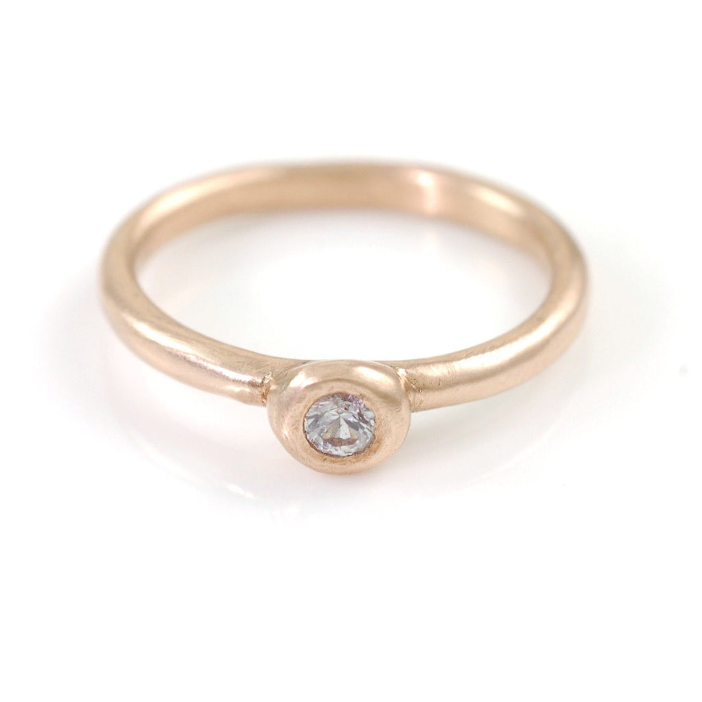 Simplicity Engagement Ring with Moissanite or White Sapphire in 14k Rose, Peach or Green Gold - Made to Order