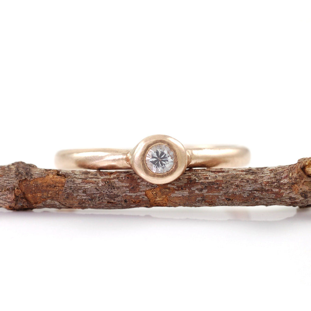 Simplicity Engagement Ring with White Sapphire in 14k Peach Gold - size 6 - Ready to Ship - Beth Cyr Handmade Jewelry