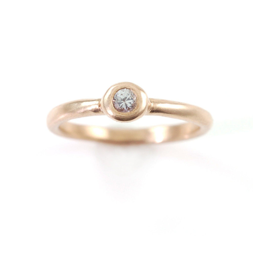 Simplicity Engagement Ring with Moissanite or White Sapphire in 14k Rose or Green Gold - Made to Order - Beth Cyr Handmade Jewelry