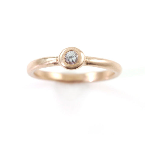 Simplicity Engagement Ring with Moissanite or White Sapphire in 14k Rose, Peach or Green Gold - Made to Order - Beth Cyr Handmade Jewelry