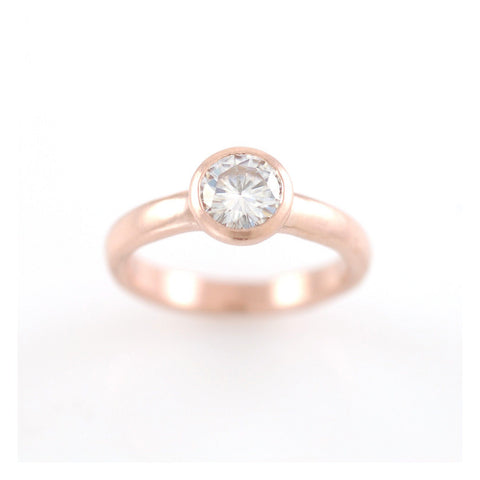 Simplicity Engagement Ring with Moissanite - Made to Order - Beth Cyr Handmade Jewelry