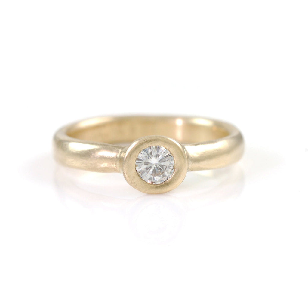 Simplicity Engagement Ring with Moissanite in 14k Yellow Gold - size 6 -  Ready to Ship - Beth Cyr Handmade Jewelry