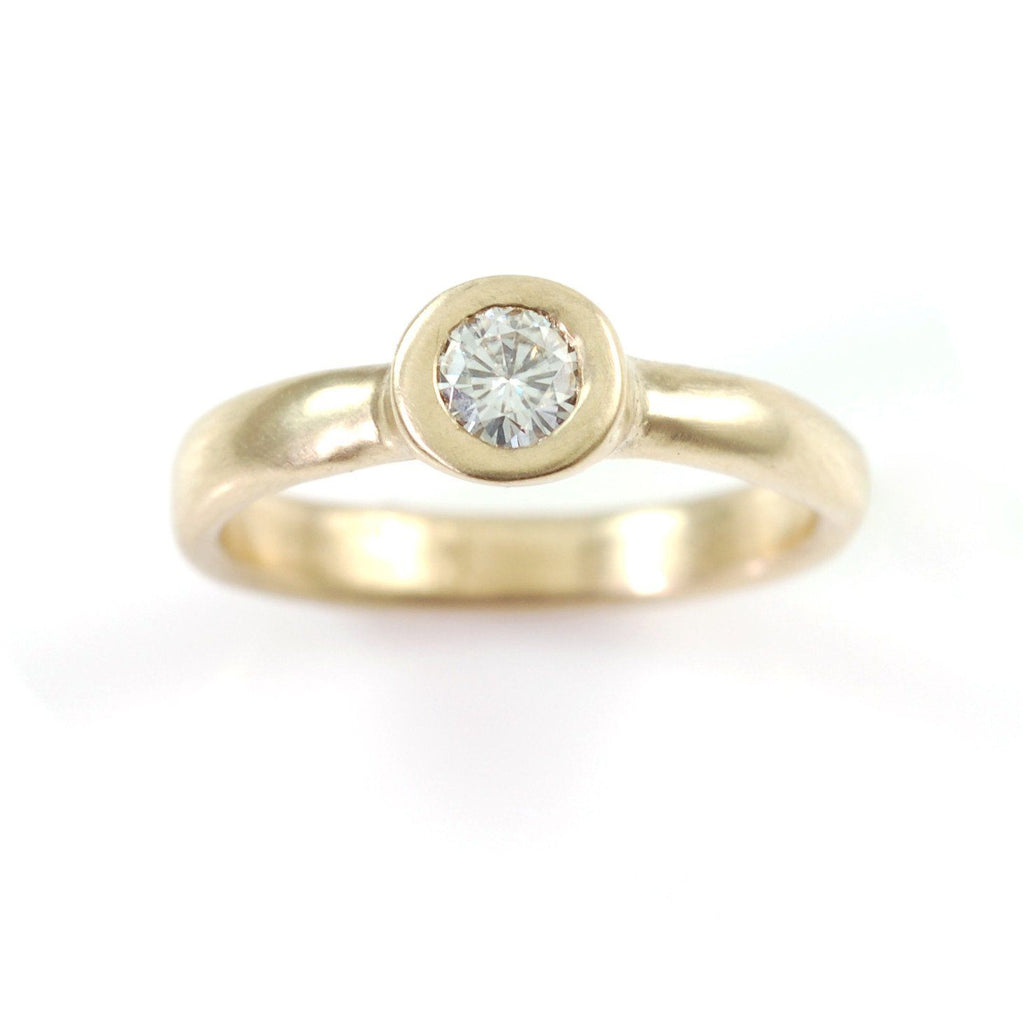 Simplicity Engagement Ring with Moissanite in 14k Yellow Gold - size 6 -  Ready to Ship