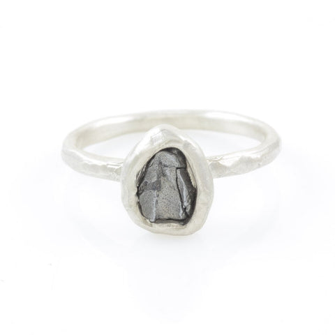 Single Meteorite Ring in Palladium Sterling Silver - size 10 - Ready to Ship