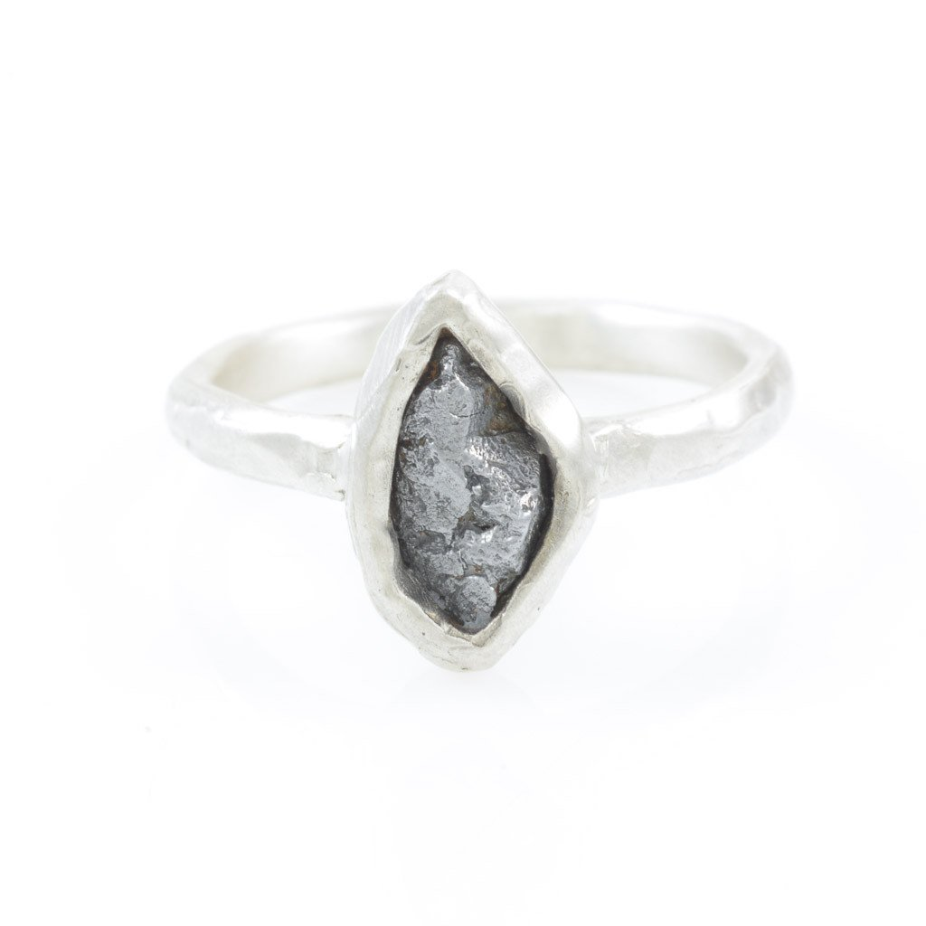 Single Meteorite Ring in Palladium Sterling Silver - size 9 3/4 - Ready to Ship - Beth Cyr Handmade Jewelry