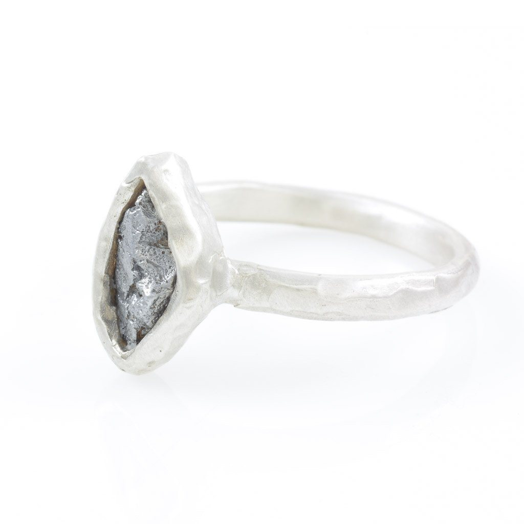 Single Meteorite Ring in Palladium Sterling Silver - size 9 3/4 - Ready to Ship