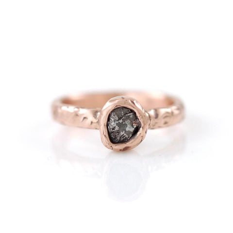 Single Meteorite Ring in 14k Rose Gold - Made to Order - Beth Cyr Handmade Jewelry