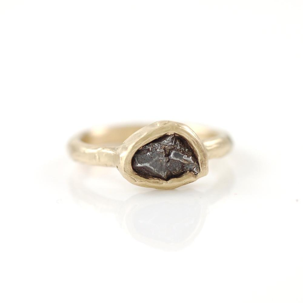 Single Meteorite Ring in 14k Yellow Gold - Made to Order - Beth Cyr Handmade Jewelry