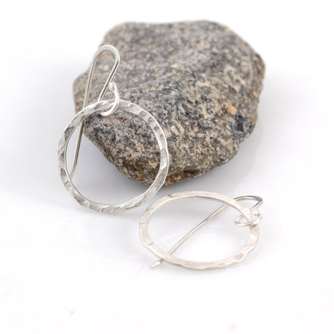 Reserved for Amanda - Small Hammered Circle Hoop Earrings - Ready to ship - Beth Cyr Handmade Jewelry