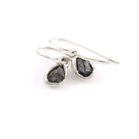 Meteorite Earrings in Sterling Silver - Size Small - Ready to ship - Beth Cyr Handmade Jewelry