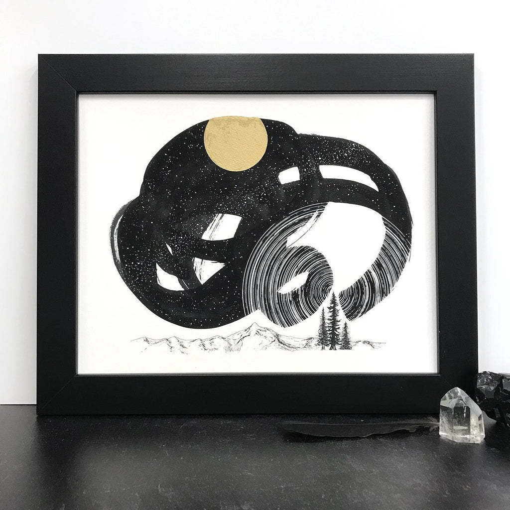 Space and Time Series - Drawing 6 - Hand Embellished Print - Ready to Ship - Beth Cyr Handmade Jewelry
