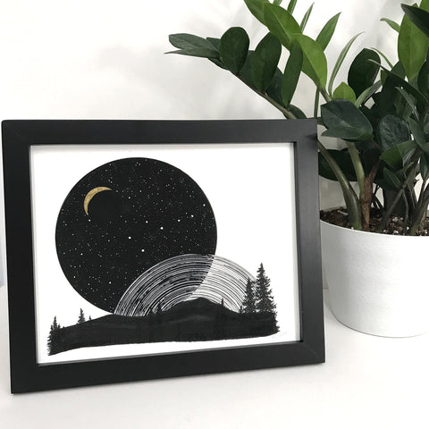 Space and Time Series - Drawing 4 - Hand Embellished Print - Ready to Ship