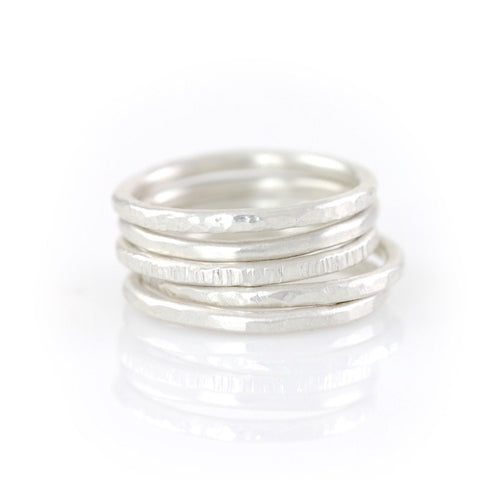 Stacking Rings in Argentium Sterling Silver - Made to Order - Beth Cyr Handmade Jewelry