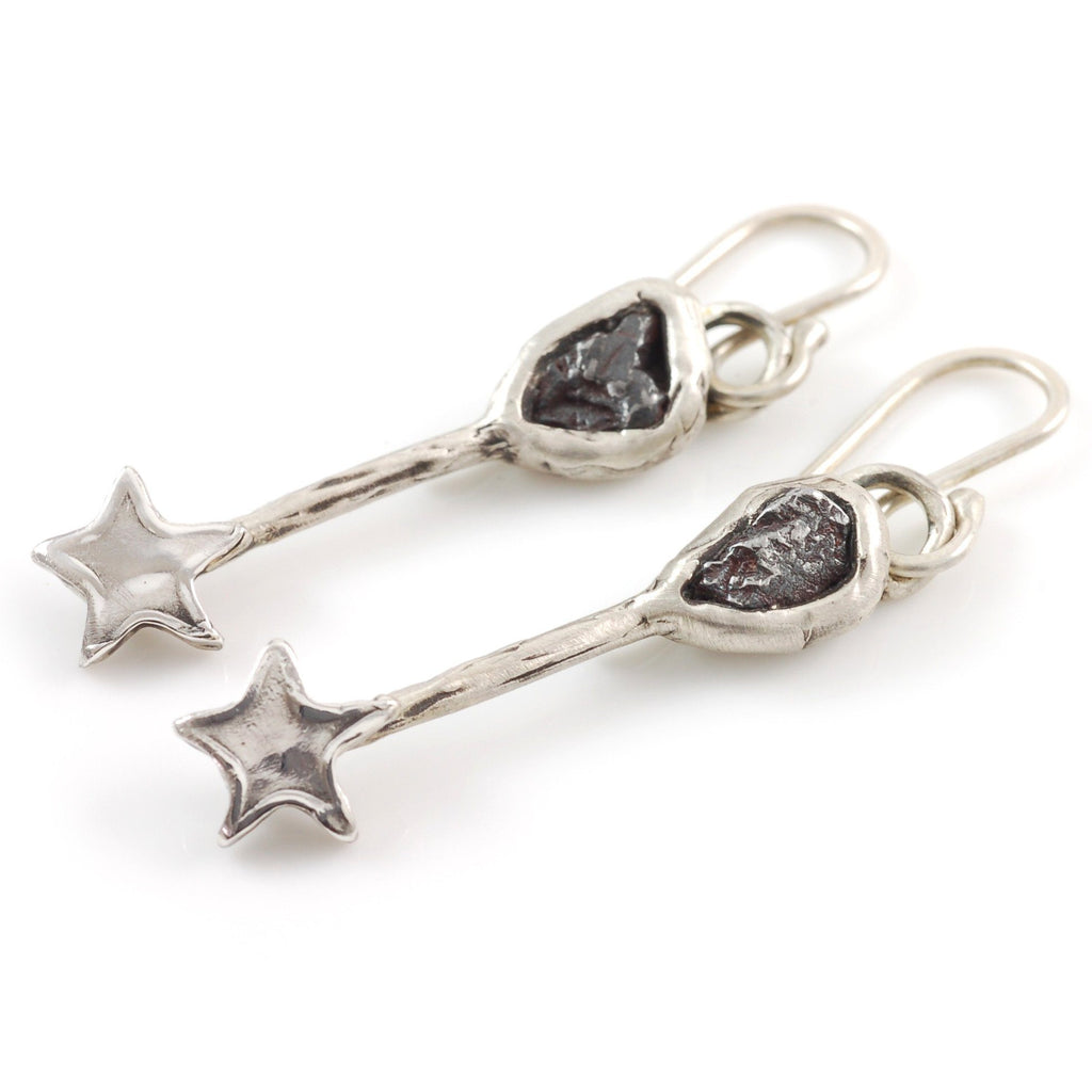 Meteorite Earrings with Shiny Stars - Ready to Ship - Beth Cyr Handmade Jewelry