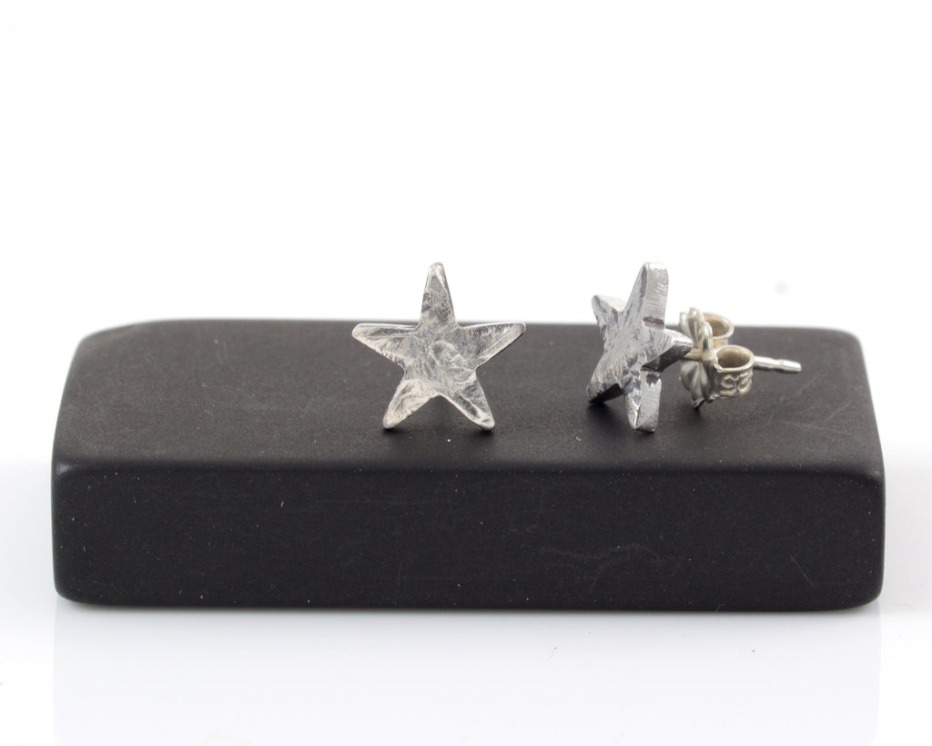 Textured Star Post Earrings in Sterling Silver - Ready to Ship - Beth Cyr Handmade Jewelry