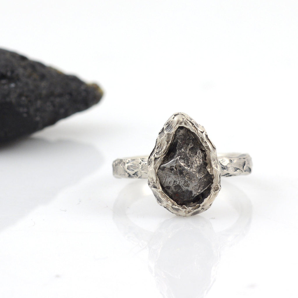 Meteorite Ring with Mountain Texture Band in Palladium Sterling Silver - size 7.5 - Ready to Ship - Beth Cyr Handmade Jewelry