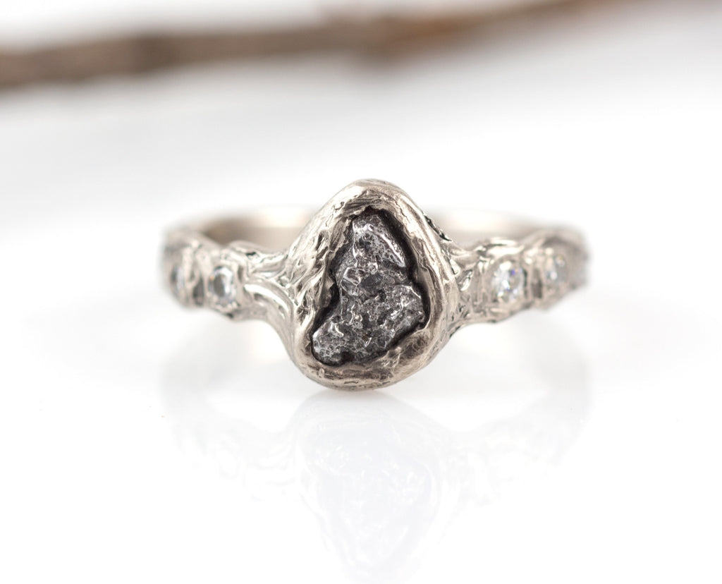 Meteorite Engagement Ring with Moissanite in Palladium/Silver with Tree Bark Texture - size 7