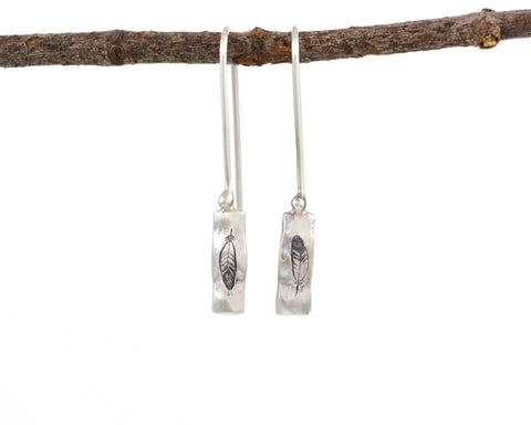 Tiny Feather Earrings in Sterling Silver - Ready to Ship - Beth Cyr Handmade Jewelry