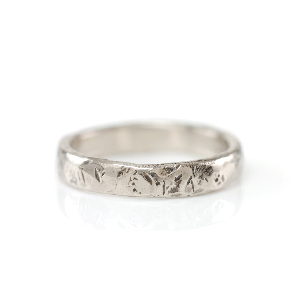 Tooled with Love Hammered Ring in Palladium White Gold - Size 5 3/4 - Ready to Ship - Beth Cyr Handmade Jewelry
