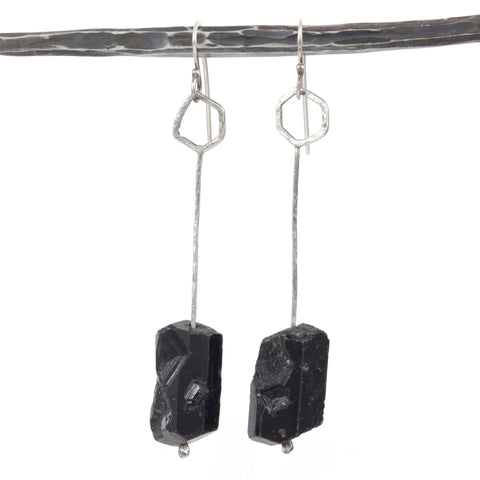 Rough Black Tourmaline Drops - Sterling Silver Earrings - Ready to Ship - Beth Cyr Handmade Jewelry