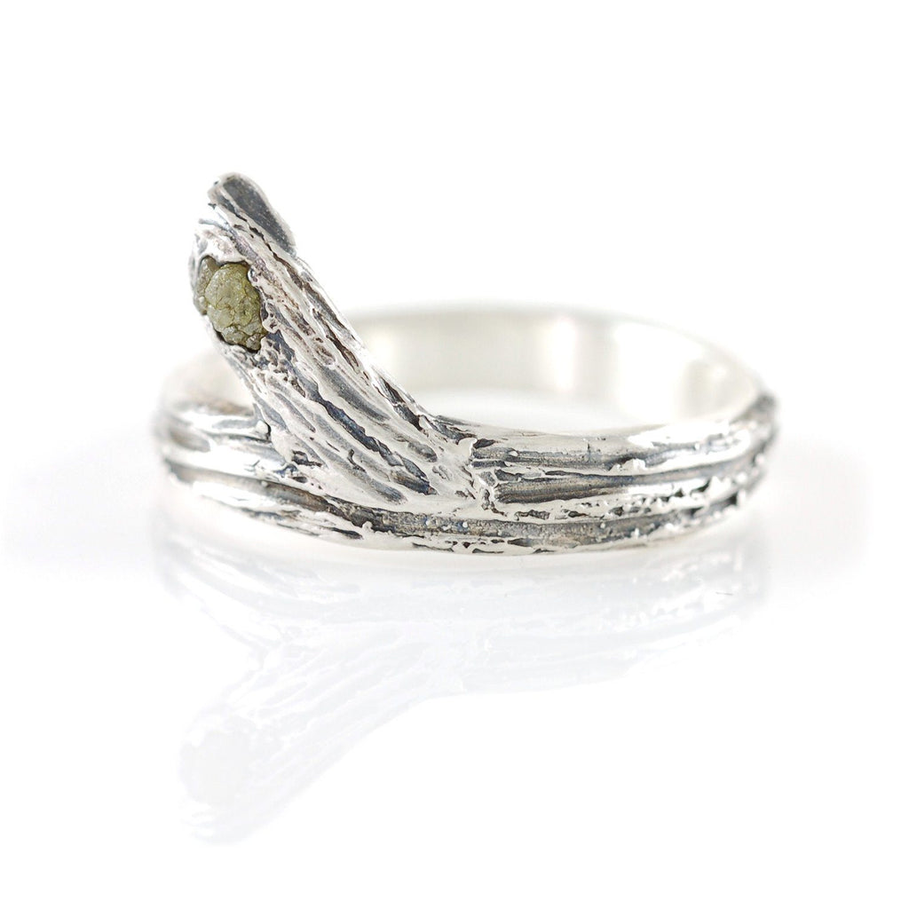 Tree Bark Branch with Rough Diamond in Palladium Sterling Silver - Made to Order - Beth Cyr Handmade Jewelry