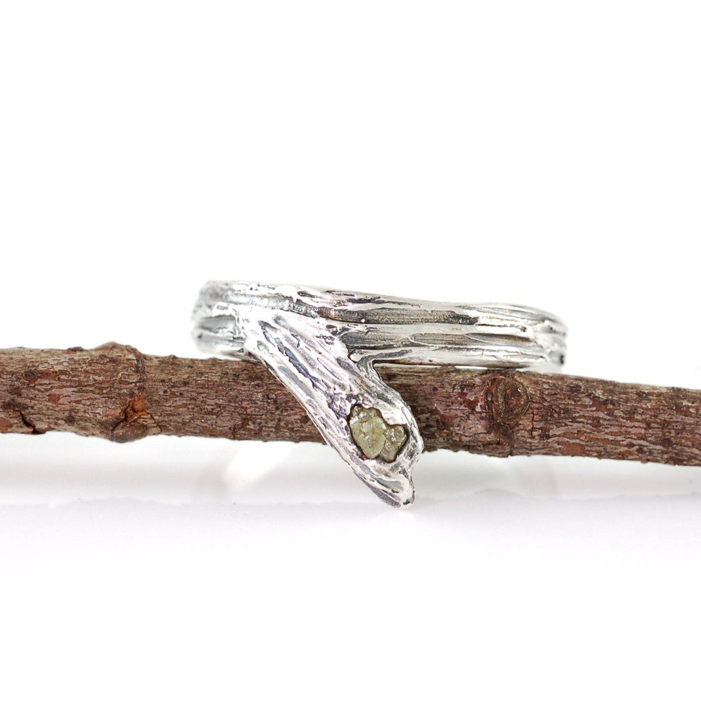 Tree Bark Branch with Rough Diamond in Sterling Silver - size 5 1/4  - Ready to Ship - Beth Cyr Handmade Jewelry