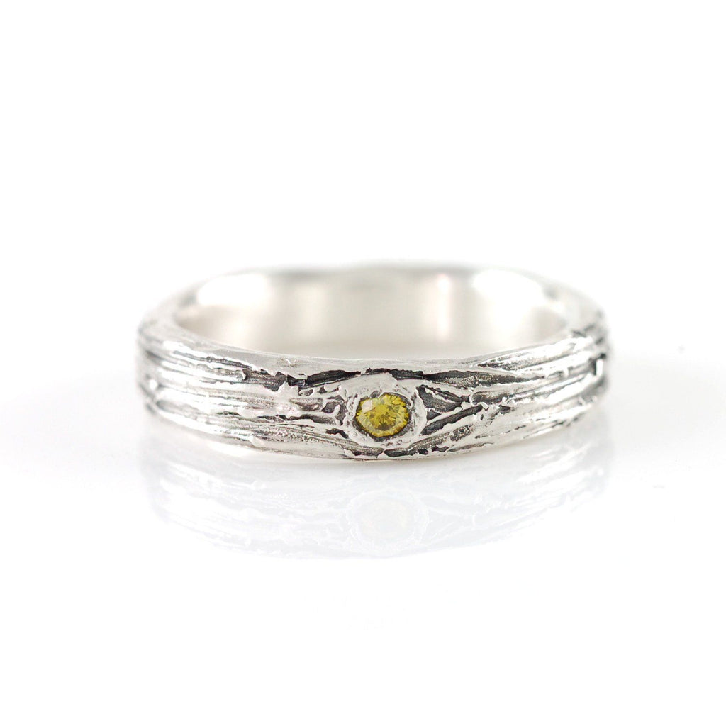 Tree Bark Love Knot Ring with Yellow Diamond in Palladium Sterling Silver - size 6.75 - Ready to Ship