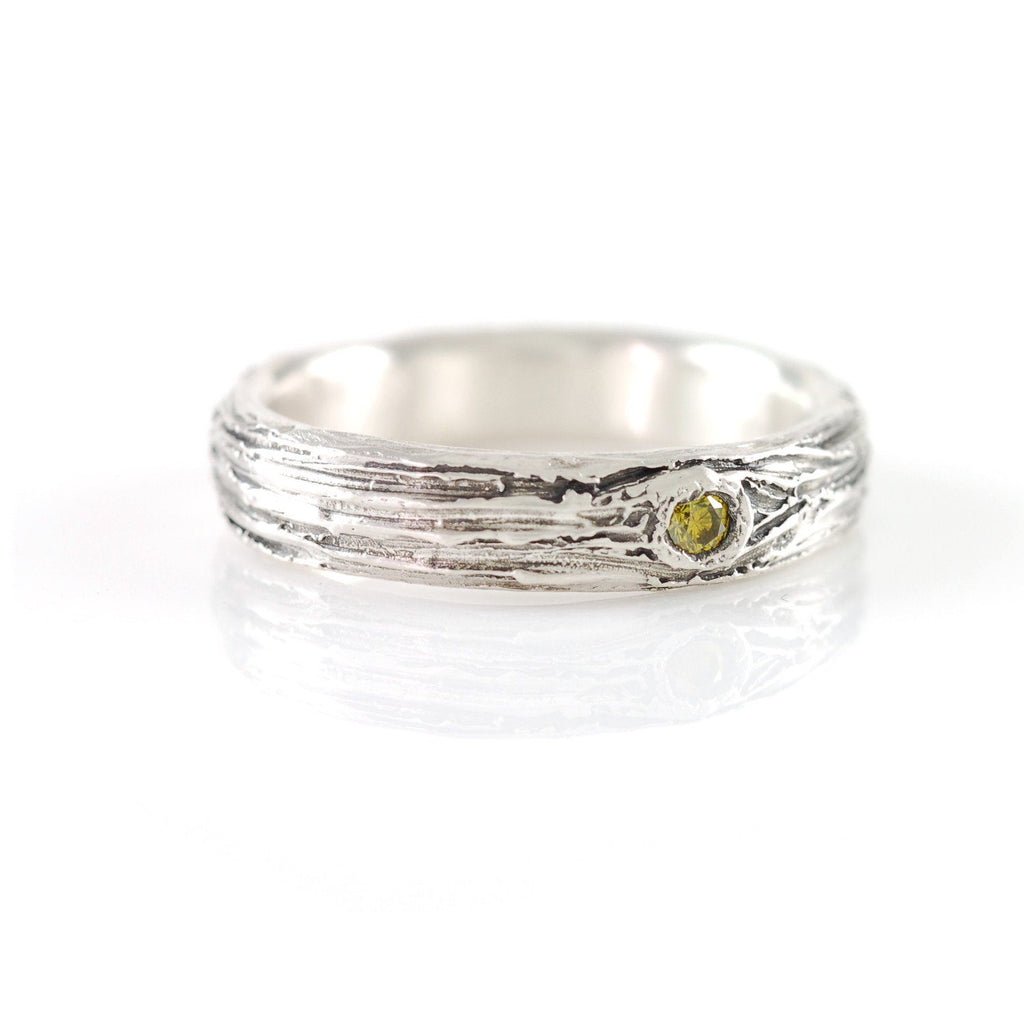 Tree Bark Love Knot Ring with Yellow Diamond in Palladium Sterling Silver - size 6.75 - Ready to Ship - Beth Cyr Handmade Jewelry