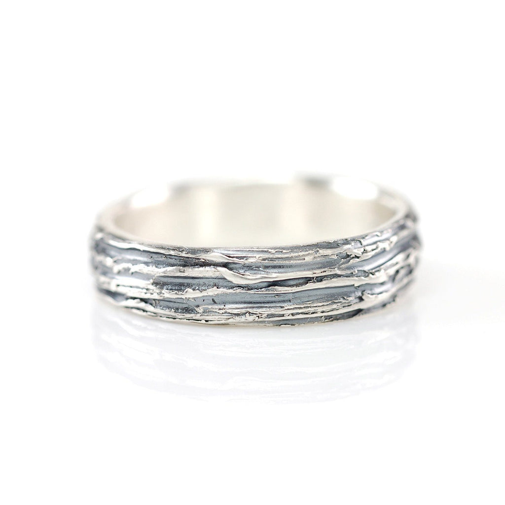 Tree Bark Ring in Palladium Sterling Silver - Size 12 3/4 - Ready to Ship