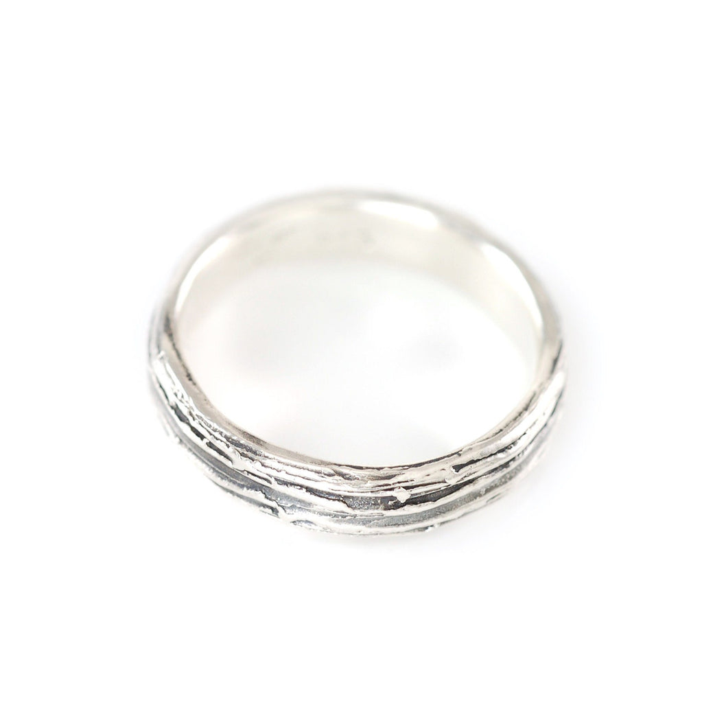 Tree Bark Ring in Palladium Sterling Silver - Size 7 1/2 - Ready to Ship