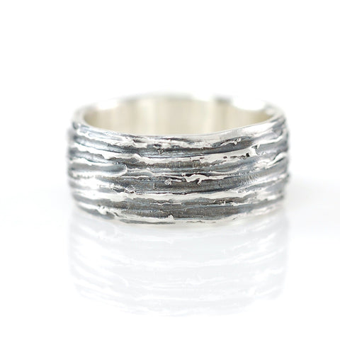 Tree Bark Ring in Palladium Sterling Silver - Size 6 - Ready to Ship